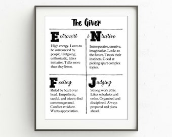 Myers-Briggs Personality Traits Printable, ENFJ, The Giver