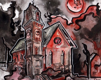 Creepy Blood Moon Painting - Horror Story Art by Jen Tracy - No Sleep Podcast Art Print - Creepy Church Under Full Moon - Scary Story Art