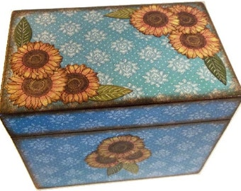 Recipe Box, Wedding Guest Book Box, Sunflower/Teal Box Large, Handcrafted  Kitchen Storage, Organization Holds 4x6 Cards  MADE To ORDER,