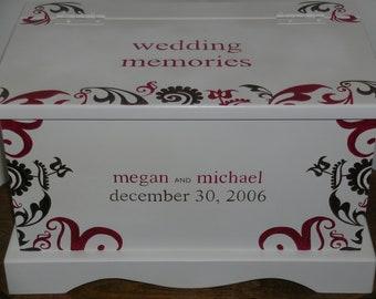 Wedding Keepsake Box Wedding keepsake chest Memory Box Modern Fleur hand painted personalized wedding gift