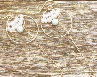 Ethnic beaded hoop dangle earrings