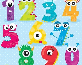 80% OFF SALE Monster numbers clipart, clipart commercial use, vector graphics, digital clip art, digital images - CL901