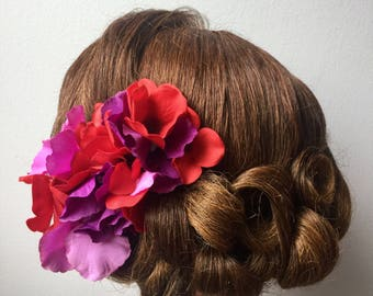 Vintage Pin-up Style Red and Purple Hydrangea Hair Flower Clip