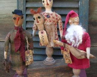 Primitive Christmas Pattern Holiday Ornies Simple Make Do's Santa Snowman Raggedy Ann Goose Folk Art Let It Snow