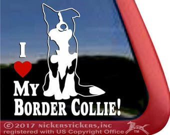 I Love My Border Collie! | DC138HEA | High Quality Border Collie Window Decal Sticker