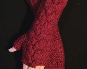 Fingerless Gloves/ Wrist Warmers Darker Red Cabled , Extra Long and Soft