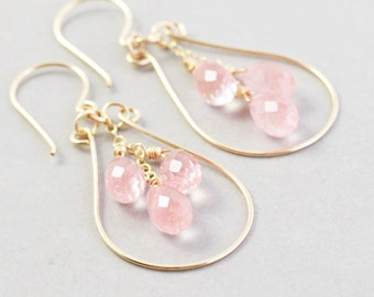 Salmon Pink Hoop Earrrings, Cherry Quartz Dangle Earrings, Bridesmaid Earrings