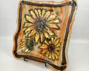 14x14 Fused Glass and Painted Orange Sunflower Plate or Platter