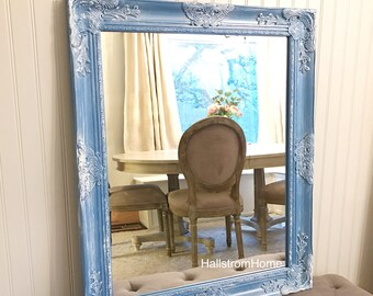 Blue and White Farmhouse Mirror