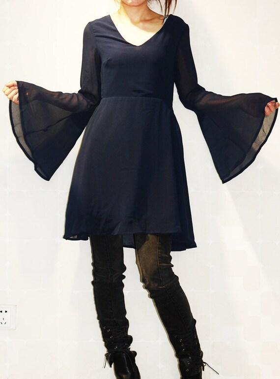 Trompete Ärmel Kleid schwarzes Kleid schwarzen Rock Kleid