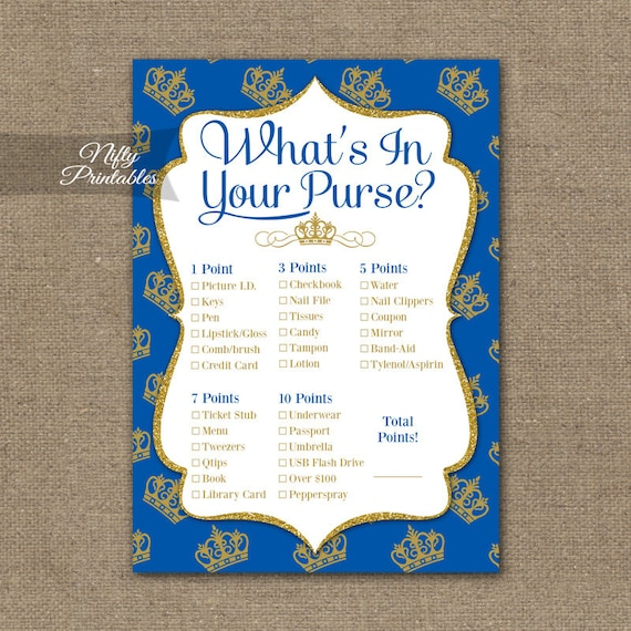 What's In Your Purse Shower Game Royal Baby Shower Purse
