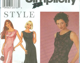1999 Misses' Fitted Dress in Two Lengths Uncut Factory Fold Size 8,10,12,14,16,18 - Simplicity Sewing Pattern 9090