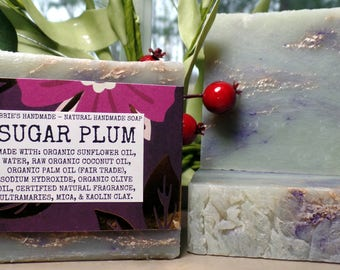 Sugar Plum - Natural Soap - Organic Soap - Natural Skincare - Vegan-Soap - Homemade Soap - Cold Process Soap - Nabbies Handmade - Uni Sex