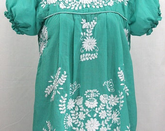 """Mexican Peasant Blouse Top Hand Embroidered: """"La Mariposa"""" Mint Green with White Embroidery ~ Size SMALL"""