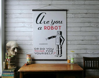 Robot Chart / Vintage Pull Down Chart Reproduction / Canvas Fabric  Print / Oak Wood Poster Hangers / Wall Hanging / Frame Art