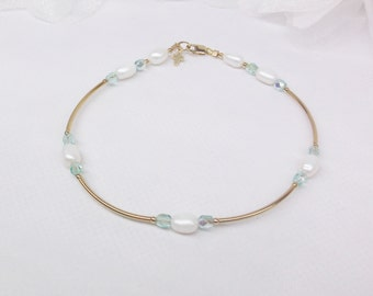 Gold Cross Anklet Aquamarine Ankle Bracelet March Birthstone Jewelry White Pearl Anklet Crystal Anklet 14k Gold Filled Anklet BuyAny3+1 Free