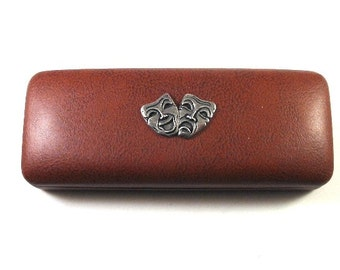 Comedy and Tragedy Mask Hand Cast Pewter Motif on Brown PU Leather Glasses Case Drama Teacher Gift Christmas Gift