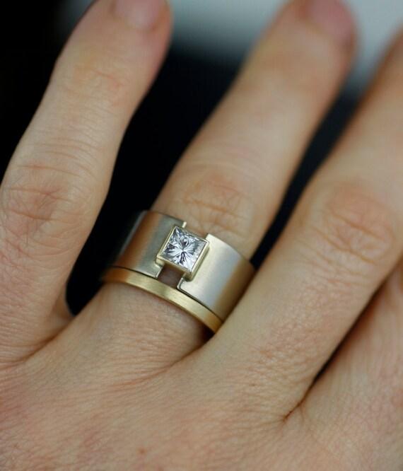 Gentil Wedding Band, Wedding Band, Unique 14K Gold, Wide Ring, Princess Moissanite  Lunar Eclipse Alternative Engagement Ring   Wedding Band