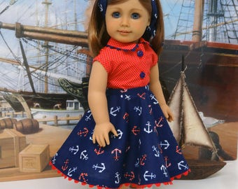 Sail Away - circle skirt and blouse ensemble for American Girl doll with saddle shoes