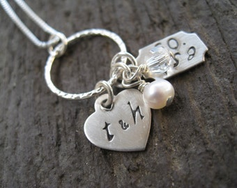 Personalized Hand Stamped Sterling Silver  Necklace Always   and   Forever