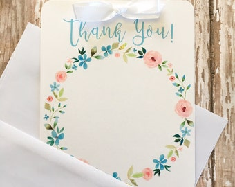12 floral thank you cards with envelopes, floral wreath thank yous, watercolor flower thank you note