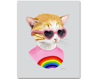 Rainbow Kitten art print - Cat art - Pet Portrait - Animals in Clothes - Animal Art - Modern Nursery - Ryan Berkley Illustration 5x7