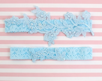 Light Blue Beaded Lace Wedding Garter Set ,Blue Lace Garter Set, Toss Garter, Something Blue, Blue Wedding Garter, GT-46