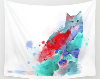 Wall Tapestry, Wall Hanging, Sofa Throw, Cat 609 red pink aqua turquoise blue Home Decor L.Dumas