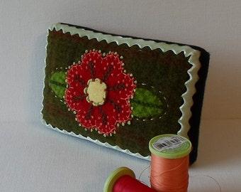 Handmade Mini Green Plaid Needle Cushion Felted Wool Red & Yellow Floral Pincushion