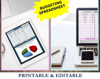 Budget tracker, editable spreadsheet, budget spreadsheet, debt payoff tracker, monthly budgeting, debt tracker, Excel, expense spreadsheet