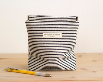 Charger case, Cosmetic pouch, Ditty bag, Make-up Case, Travel pouch / Indigo Hickory Stripe