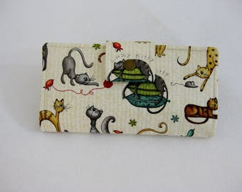 Cat Wallet,  Womens Wallet, Handmade Ladies Bifold, Travel Wallet, Gift For Woman, Wallet Clutch, Credit Card Wallet, Animal wallet