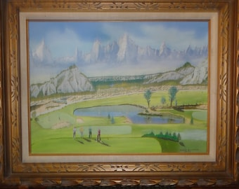 Vintage 1977 Golfing Oil Painting/Golfers/ Pond/Mountain Signed Harry Bowman