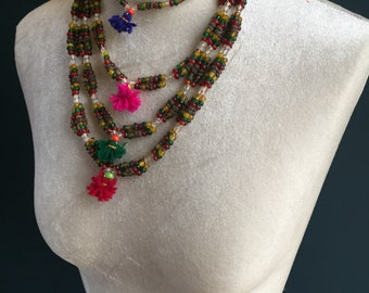 Bajara Gypsy Old Vintage Bead and Tassel Necklace, rare Rajasthan Indian jewelery. 4 Tiers, Vibrant colour, Festival Boho Fashion.