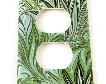 Outlet Light Switch Plate Wall Decor  Single Light Switch Cover Green Swirl  ( 234O)
