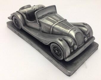 Morgan +8 Pewter Effect 1.32 Scale Model Car Handmade In Sheffield