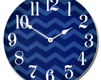 Chevron Navy Blue Wall Clock