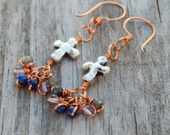 Silver cross earring, copper earrings, boho gifts, cross jewelry, long copper earrings, wire wrap earrings, long cross earrings, boho