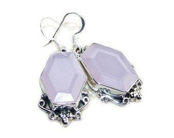 Rose Quartz and Sterling Silver Earrings Big and Bold