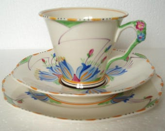 Vintage Art Deco  James Kent Flower Handle Trio Cup, Saucer and Side Plate Made in England