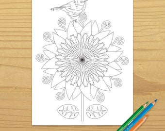 Flower Coloring Page, Bird Coloring Page, Nature Coloring Page, Zen Coloring Page, Garden Coloring Page, Digital Download
