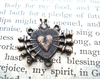 Seven Sorrows of Mary - Chaplet Center - Rosary Center - Bronze or Sterling SIlver  (R74-456)
