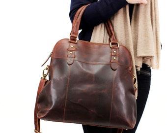 Large Leather Handbag, Top Handle Bag, Tote, Distressed Brown