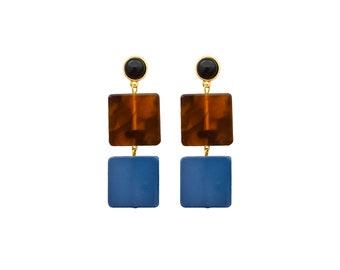 Double Square Drop Earrings/Square Dangle Earring/Blue Drop Earrings/Double Drop Earrings/Resin Drop Earrings/Resin Earring/Tortoise Earring