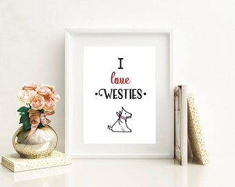 Personalised Westie gifts, Westie dog print, I love Westies home decor picture, gifts for dog lovers, dog birthday gift, Christmas gifts