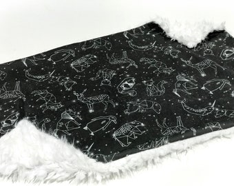 Black and White Geometric Animals Constellation Baby Blanket Lovey, Baby Boy Minky Lovey Blanket, Monochrome Woodland Gender Neutral Blanket