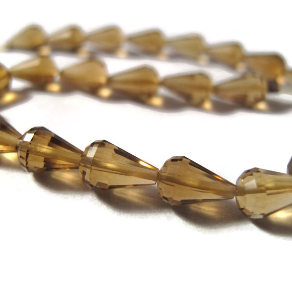 Beautiful Quartz Beads, 8 Inch Strand of Natural Gemstones, Faceted High Quality Drops, 8x5mm-9x5mm, Over 25 Stones (S-Bq3)