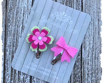 READY TO SHIP, Shocking Pink Light Green Wool Felt Flower Mini Bow Clip Set, Baby Clips, Infant Girls Adult Mini Snap Clips