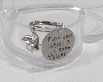 Gift for Graduate, Find your Wind and Take Flight, Pinwheel Charm, Gift for her, Graduation Gift, Just Because Gift, Gift for a Teen