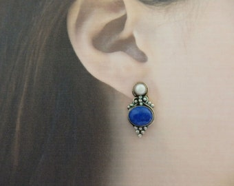 Vintage Sterling, Lapis and Mabe Pearl Post Earrings, Mediterranean Style Pierced Earrings